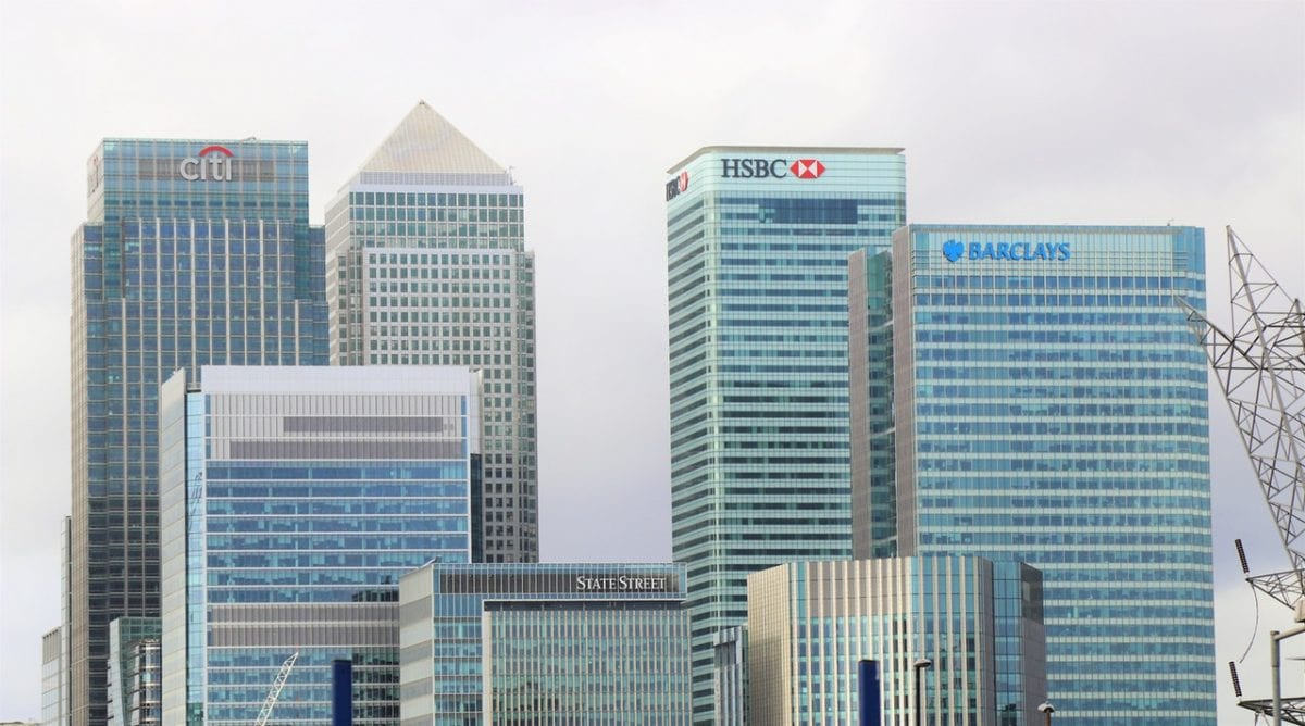skyline of bank buildings channel shift