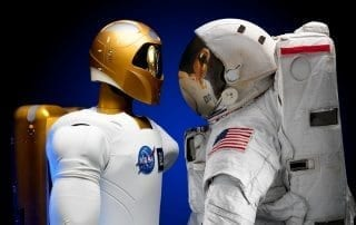 astronaut facing off robot