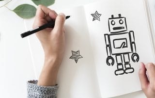 woman drawing a robot customer service chatbot