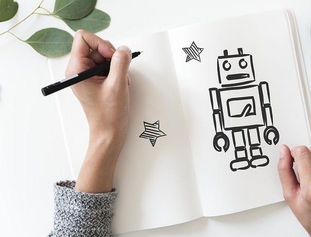 woman drawing a robot customer service chatbot
