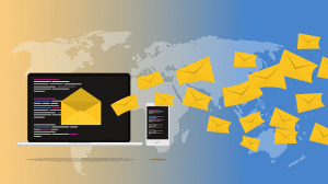 illustration of laptop, mobile and emails omnichannel
