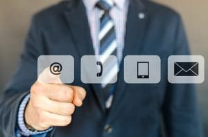 suited man pressing messaging icons omnichannel myths