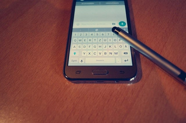 smartphone being used with a stylus pen