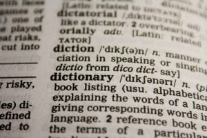 close up of dictionary natural language processing